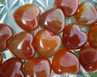 Red Carnelian Gemstone Heart For Pocket Purse or Tabletop