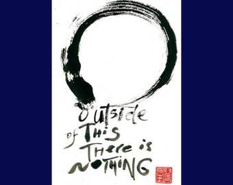 "Scroll Painting Zen Enso, Circle, Original Fine Art Calligraphy ""Outside of this there is nothing"", zen decor, japanese tea art, Buddhist"