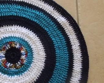 Crochet mat, rug, pet bed, blanket, round throw, circle blanket, black, blue, white