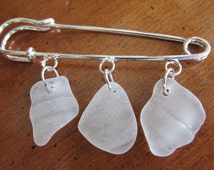Bottleneck Brooch Pin, Sea Glass Jewelry, Seaglass Brooch, Beach Glass Jewelry, Genuine Sea Glass