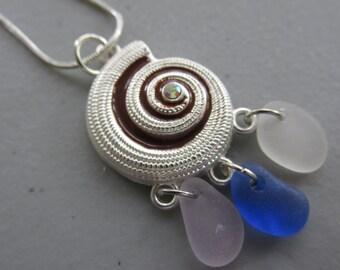 Seashell Pendant, Shell Necklace, Sea Glass Jewelry, Beach Glass Jewelry, Snail Pendant, Sea Glass Jewelry, Sea Glass Necklace, Gift for Her