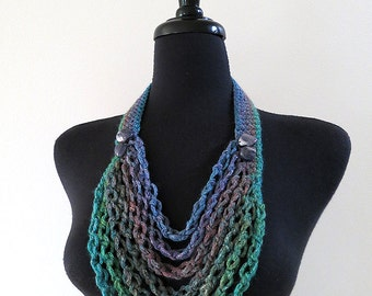 Turquoise Green Blue Lavender Denim Color Chains Cords Statement Necklace Lariat Bib with Shell Beads
