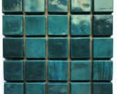 """15mm (3/5"""") Dark Teal Opaque Glass Mosaic Tiles/ Teal Glass Mosaic Tiles/ Emerald Green Glass Tiles/ Caribbean Blue Glass Tiles"""