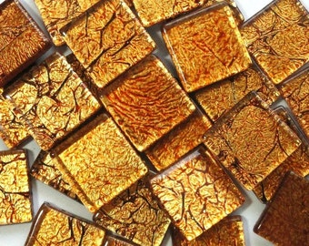 "20mm (3/4"") Copper Antiqued Foil Backed Crackled Crystal Glass Mosaic Tiles//Mosaic Supplies//Mosaic//Crafts"