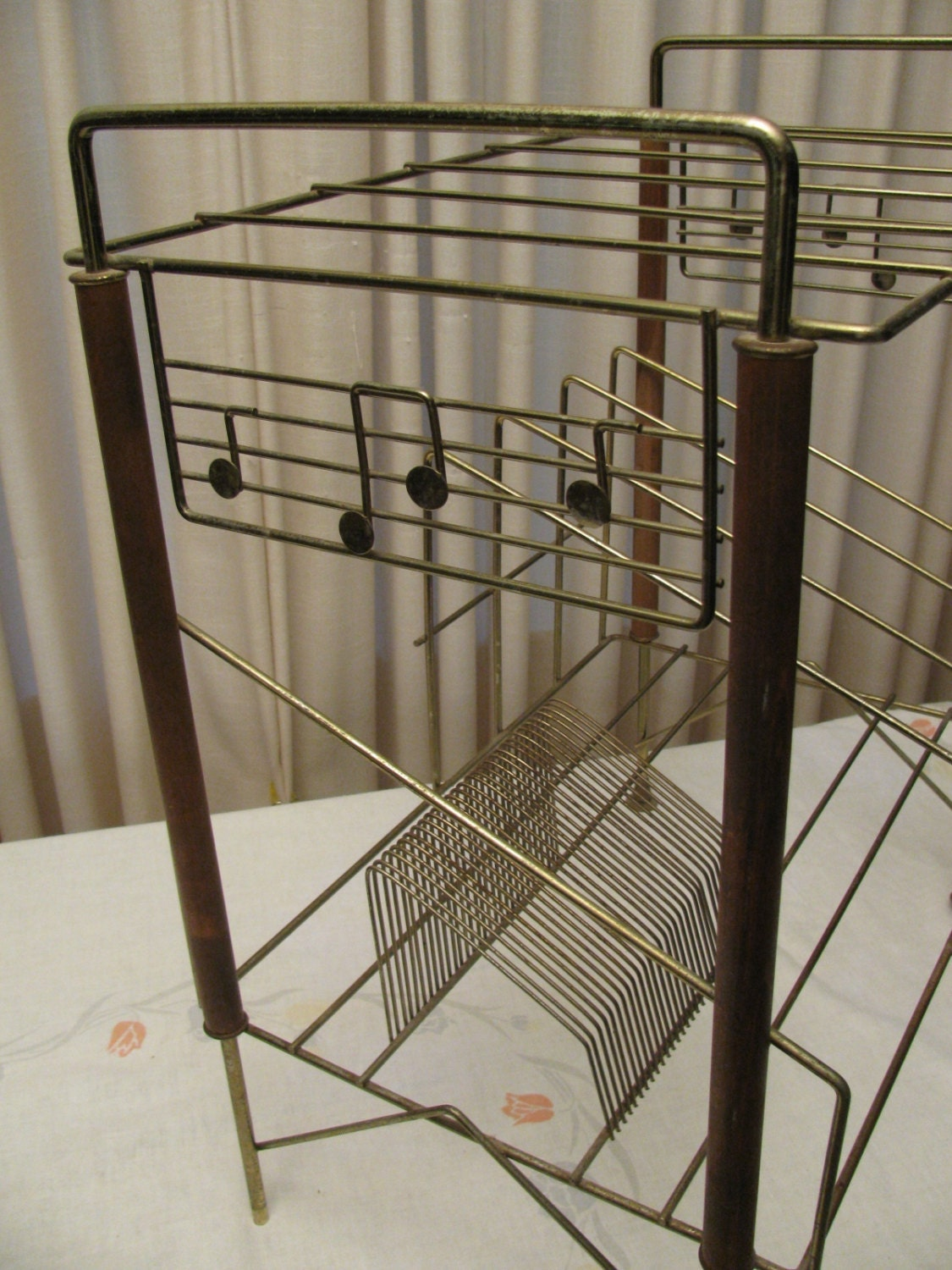Vintage 1950s Record Player Stand Record Rack Gold Tone Metal