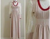 Vintage 1970's maxi with lace / 70's pink empire waist dress / seventies boho hippie / 26 waist
