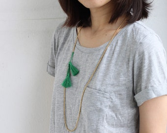 Simple Long Green Tassel Necklace Wrap Bracelet