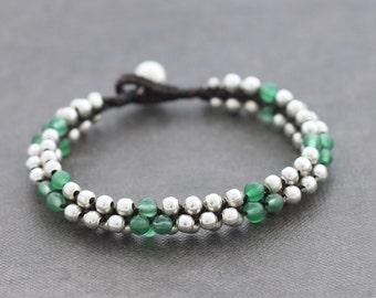 Beaded Woven Jade Round Silver Women Cuff Bracelet
