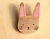 cute bunny rabbit wooden brooch