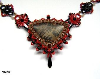 Beige, red and black jasper gem stone pendant on lace chain, ooak