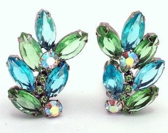 Juliana Vintage Earrings In Pale Green & Light Blue 1960s Pastel Jewelry