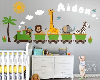 Jungle Safari Animals Train HUGE Wall Decal Set, Personalized Monkey Zebra Giraffe Elephant Lion Nursery Kids Playroom Room Sticker