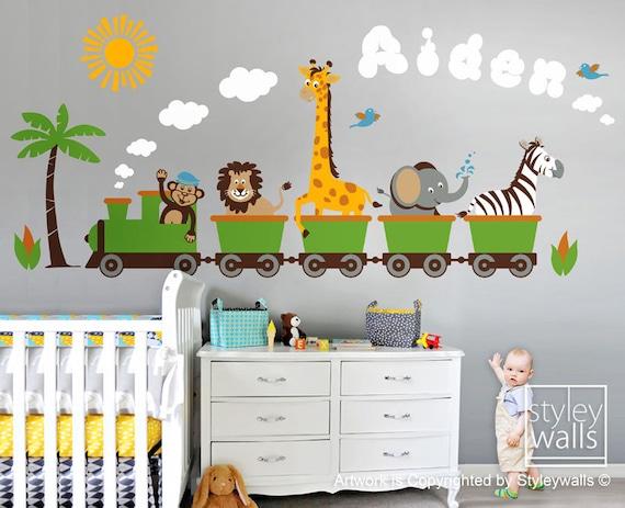 Jungle safari animals train huge wall decal set personalized for Stickers habitacion bebe