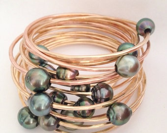 Make Your Own Tahitian Pearl Thick 14 Gauge Yellow or Rose Pink Gold Filled Bangle