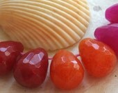 Semi Precious Teardrop Beads - Making Jewelry Supplies -  8x12 Faceted Teardrops (8 beads) Orange, Red or Fuschia