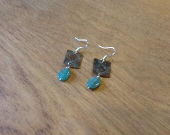Verdigris and Emerald Copper Earrings