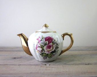 China Teapot with Floral and Gold