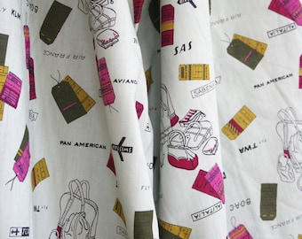 Yardage of travel themed mid century cotton fabric. Luggage, tags, airlines, PanAm, SAS, Swissair, sage,