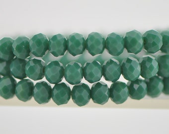 Crystal Glass Rondelle Faceted beads 4x6mm Opaque Green -(BZ06-102)/ 95pcs