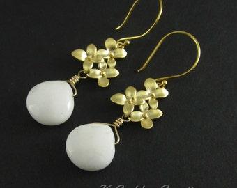 White Dangle Earrings, White Gold Earrings, Gold Cherry Blossom, White Jade, White Gemstone Flower Earrings Simple White Drop SALE