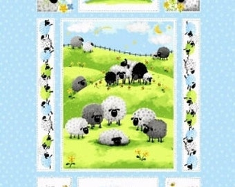"SHEEP ~ LEWE the EWE Quilt Panel ~ 100% Cotton Fabric Panel ~ Approximately 35"" x 42.5"" ~ by Susybee 20042"