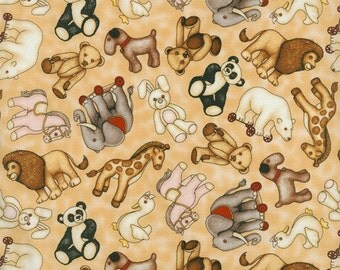 Toy Animals Print Fabric ~ Where the Toys Are Collection ~ RJR Fabrics ~ 100% Cotton Fabric ~ 1/2 Yard Cut ~ 1711-001