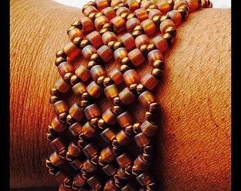 Bead Woven Bronze Cuff Bracelet, Wide Cuff Bracelet, Statement Bracelet, Fashion Cuff Bracelet, Beaded Bracelets, Seed Bead Bracelet
