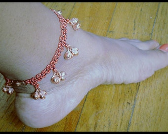 Copper Bell Anklet, Copper Ankle Bracelet, Copper Charm Anklet, Jingle Bell Anklet, Charm Ankle Bracelet, Copper Bell Anklet, Bollywood