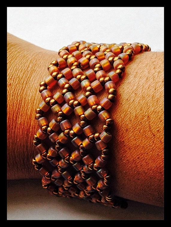 Bead Woven Bronze Cuff Bracelet Wide Cuff by ...