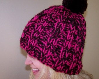 Chocolate Brown Pink Wool Hat, Chunky Knit Pom Pom Hat, Chunky Wool Knit Toque, Big Knit Hat, Wool Ribbed Hat, Warm Winter Hat, Winter Trend