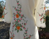 Vintage Ivory Embroidered wedding dress party evening dress