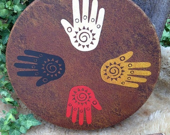 """SPIRIT of the FOUR DIRECTIONS - Native American style shamanic drum with signature totem & symbology artwork - 14"""" diameter"""