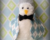 Light Grey Tweed Fabric Penguin Ornament with Argyle Wings