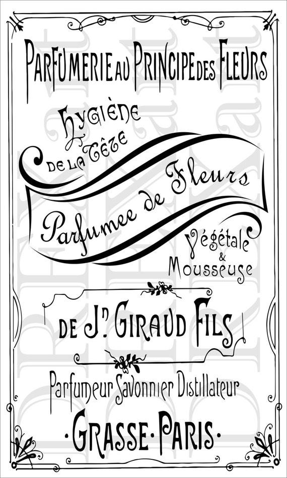 articles similaires à pochoir français - parfumerie - 12 x 20 - 7