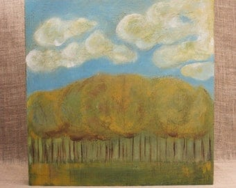 Landscape Painting, Original Fine Art, Wood Panel, Wil Shepherd Studio, Handmade, Hand Painted, Nature, Trees, Acrylic, Wall Decor, Clouds