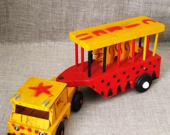 Vintage Folk Art Toy Circus Truck, Wooden Transportation, Handmade, Primitive, Wood, Vehicle, Tiger, Animals, Colorful, Rustic, Wil Shepherd