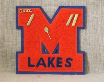 Vintage Tennis Letterman's Letter M, Sport Patch, Athletic, Team Captain, High School Sports, Racket Pin, Orange, Blue, Lakes, Embellishment