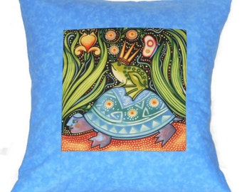 Quilted Pillow Cover Folk Art Frog Prince Riding on a Turtle with Blue Border