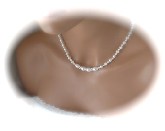 Wedding Jewelry pearl necklace bridesmaid necklace white swarovski pearl bridal jewelry