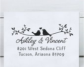 Custom Rubber Stamp - Self Inking Address Stamp - Wedding Stamp Twigs Two Birds in Love
