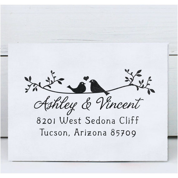 Custom Address Stamp, Return Address Stamp, Calligraphy Address Stamp, Self inking or Eco Mount stamp - Twigs Two Birds in Love