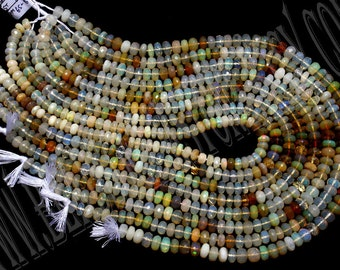 Ethiopian Opal Faceted Roundel (Quality A+) / 36 cm / 15 to 17 Grms. /  6.5 to 8 mm /  BOG-030