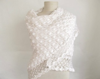 Bridal Shawl, Wedding Shawl, Bridal Shrug, Ivory Shawl, Beige Shawl and Shrug, Winter Wedding, Bridal Bolero, Crochet Shawl, Bridal Cover Up