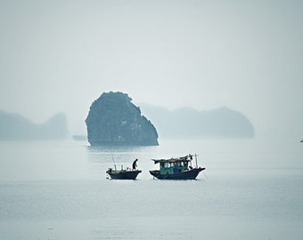 "Fisherman with Dog in Halong Bay Vietnam - travel photography, 8x12"" fine art photo"