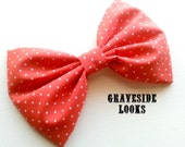 Rockabilly Pin Up Red and White Polka Dots Fabric Hair Bow
