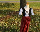 Maria's Austrian Floral Dress in Black and Red Sizes 2-12