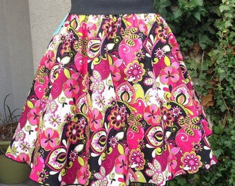 Elastic Gathered Skirt - Bright Pink Spring Floral Size Large