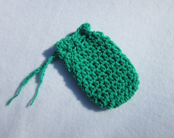 Crochet Soap Saver Bag in Green Cotton
