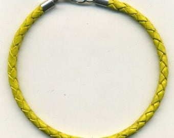 Yellow Braided Leather Cord Necklace (Choker) 5 mm-your choice of size