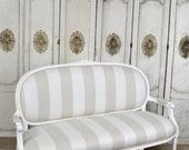Louis XVI settee in cabana stripe linen SALE